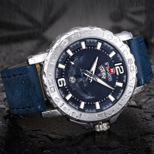 NAVIFORCE Cool Luminous Quartz Men Watch 3ATM Water-Proof Man Casual Wristwatch Genuine Leather Band Calendar & Week + Box