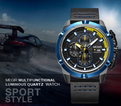 MEGIR Fashion Sport Men Watches 3ATM Water-resistant Quartz Luminous Man Wristwatch Chronograph Calendar