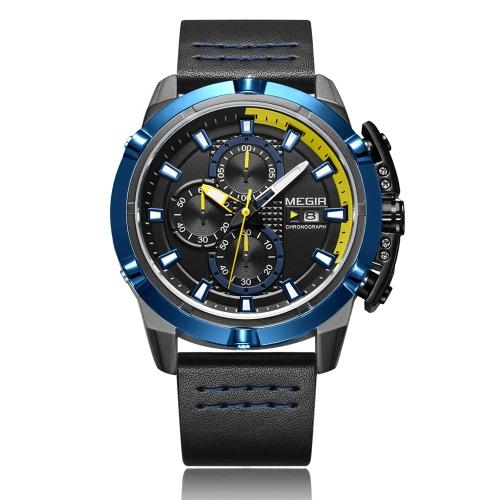 MEGIR Fashion Sport Men Zegarki 3ATM Wodoodporny zegarek kwarcowy na rękę z chronografem