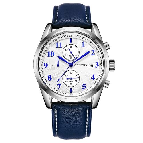 OCHSTIN moda deporte cuero genuino hombres relojes cuarzo 3ATM resistente al agua hombre reloj cronógrafo calendario