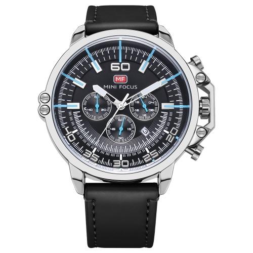 MINI FOCUS Relógios masculinos de couro genuíno
