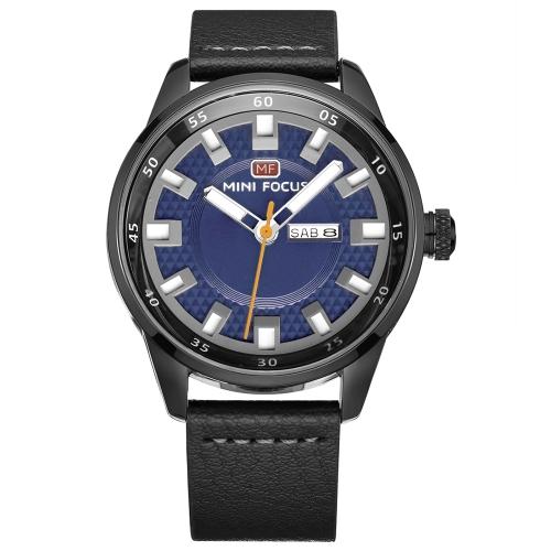 MINI FOCUS Relógios de homem de couro genuíno Quartz 3ATM Relógio de pulso Luminous Casual Luminous Waterproof