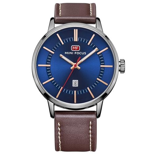 MINI FOCUS Fashion Genuine Leather Men Watches Quartz 3ATM Water-resistant Luminous Casual Man Wristwatch Calendar