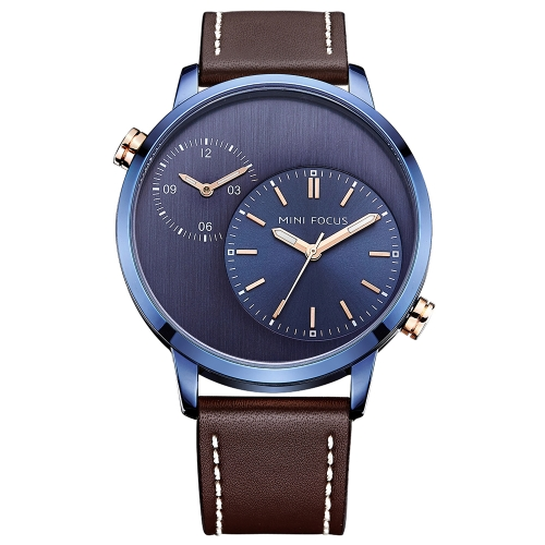 MINI FOCUS Leather Dual Display Men Watches