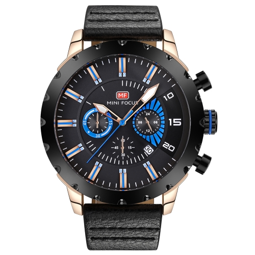 Mini FOCUS Luksusowy Luminous Quartz Men Casual Zegarek wodoodporny Chrono Sports Style Man Zegarki Genuine Leather + Box