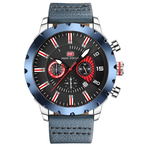 Mini FOCUS Luxury Luminous Quartz Men Casual Wristwatch Water-Proof Chrono Sports Style Man Watches Genuine Leather + Box