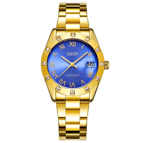OUBAOER moda lujo acero inoxidable mujer relojes cuarzo 3ATM resistente al agua casual mujer reloj de pulsera calendario