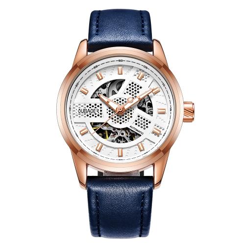 OUBAOER Lujo Automático de Cuero Genuino Relojes Mecánicos 3ATM Resistente al Agua Luminoso Moda Hombre Reloj