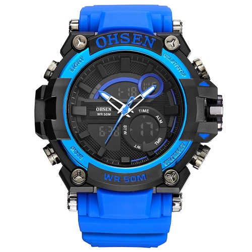 OHSEN Dual Display Digital Quartz Men Watch 5ATM Water-Proof Sports Watch Rubber Band Cronógrafo / Backlight / Alarme Masculino Relogio