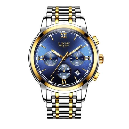 LIGE moda di lusso in acciaio inossidabile uomini orologi 3ATM impermeabile orologio al quarzo luminoso sport uomo orologio da polso maschile relogio musculino cronografo
