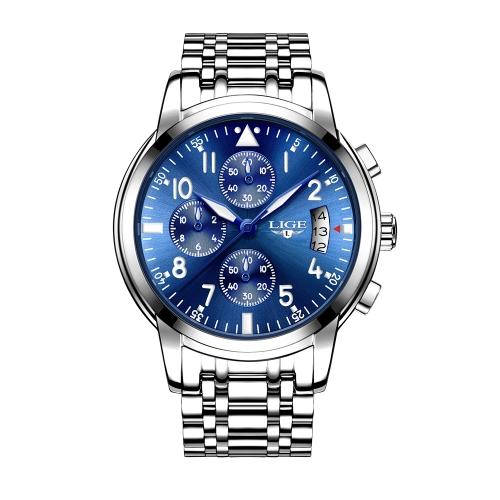 LIGE Fashion Luxury Stainless Steel Men Relojes