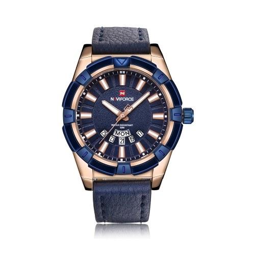 NAVIFORCE Moda Homens Causais Relógios À Prova D'Água Luminosa Relógio De Pulso Calendário De Exibição De Tempo