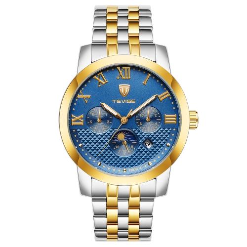 TEVISE Fashion Business Automatic Men Relojes 3ATM Reloj de pulsera mecánico de acero luminoso resistente al agua para hombre Relogio Musculino Moon Phase