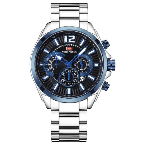 MINI FOCUS Moda Homens de aço inoxidável Sport Watch 3ATM Quartz resistente à água Relógio de pulso luminoso Homem Relogio Musculino Cronógrafo