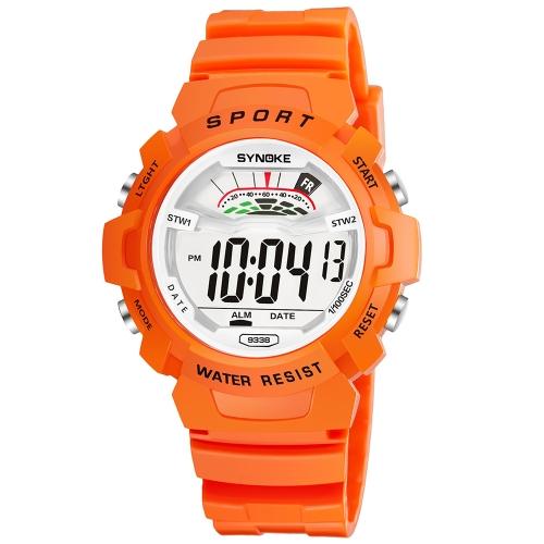 SYNOKE Students Niños Relojes deportivos 3ATM Life Retroiluminación digital resistente al agua Niño Niños Boy Girls Reloj de pulsera Alarma Cronómetro