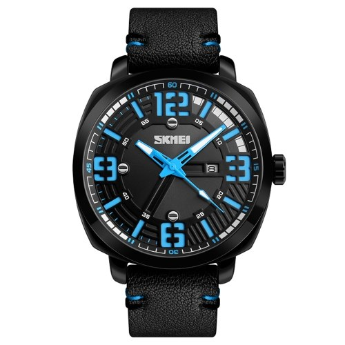 SKMEIファッションクォーツメンズウォッチ3ATM防水カジュアルメンズ腕時計男性の日付