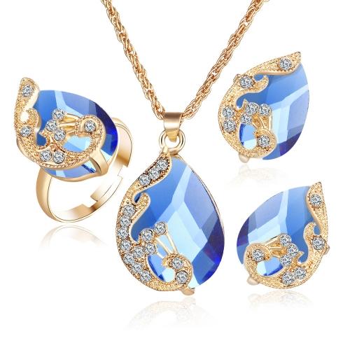 Chapado en oro de moda conjunto de joyas cristal gota colgante collar de pavo real pendientes anillo de tres piezas para mujer