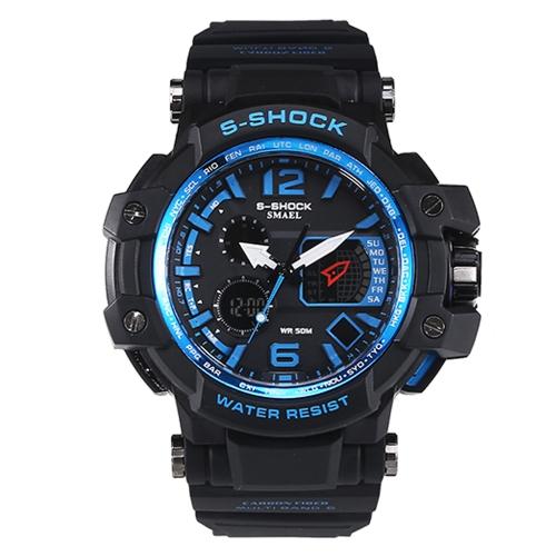 Männer stilvolle Sport-Multifunktions-elektronische wasserdichte Uhr Doppelanzeige Armbanduhren
