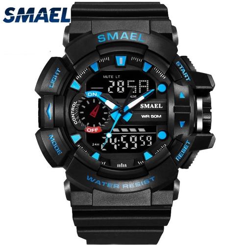 Stylowy sportowy męski wielofunkcyjny elektroniczny zegarek wodoodporny Podwójny wyświetlacz zegarków