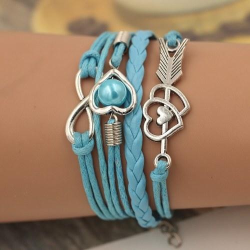 Fashion Multi-layer Alloy Leather Heart-shaped Cupid Arrow Woven Bracelet for Women Jewelry