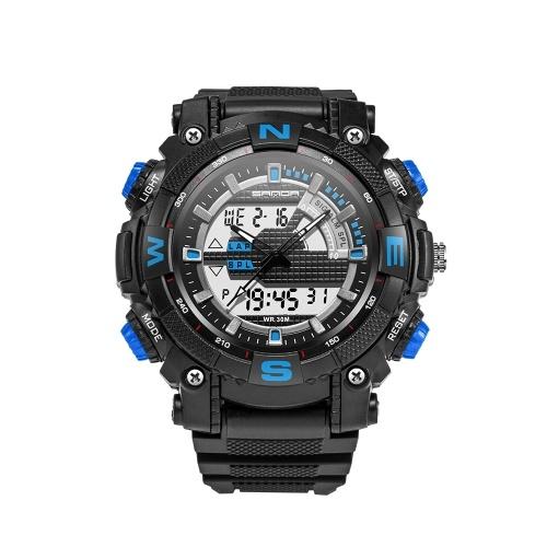 SANDA 743 Montre de sport électronique Hommes Montres étanches Analogique Numérique LED Retour Lumière Montre-bracelet pour homme Horloge