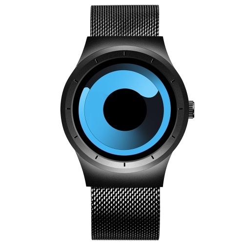 Skone 7432 homens simples assistir cinta de malha de aço de quartzo movimento relógio relógio de pulso à prova d 'água casual relógio masculino