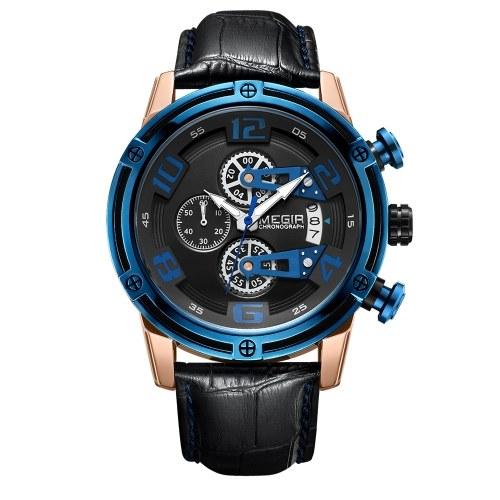 MEGIR 2078 Watch Men Sport Chronograph Leather Strap Quartz Movement Watch