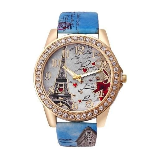 Montre-bracelet classique pour femme avec tour Eiffel brillante