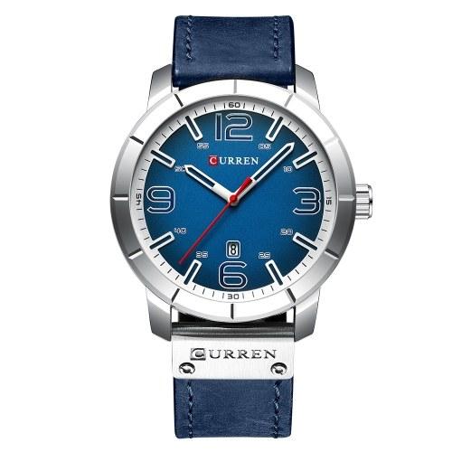 CURREN 8327 orologio da uomo marca in pelle al quarzo quotidiano impermeabile quadrante rotondo da polso moda Business Watch Relogio Masculino