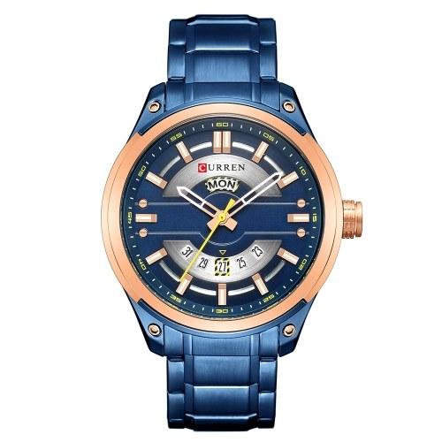 Curren 8319 homens relógio de marca de aço inoxidável de quartzo cinta diária à prova d 'água rodada dial de pulso de negócios de moda assista relogio masculino