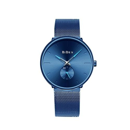 BIDEN Men Fashion Business Watch montre-bracelet ultra mince grand cadran noir montre maille bande bande