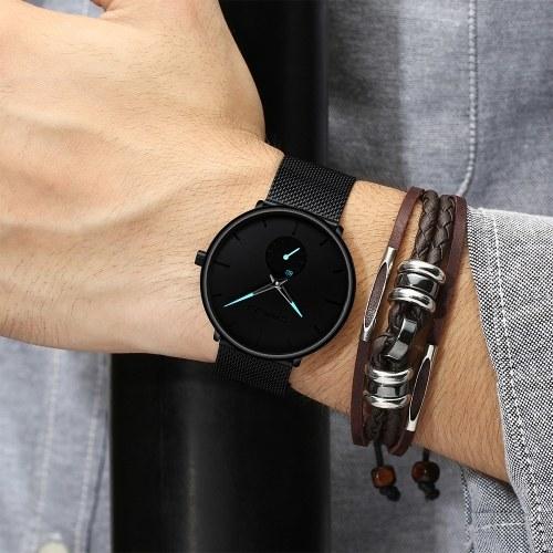 CRRJU Männer Mode Lässig Quarzuhr Einfache Edelstahl Mesh Band Uhren Elegante Ultra Slim Armbanduhr