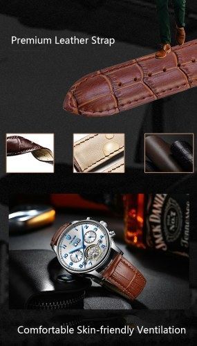 TEVISE T836B Brand Fashion Men Watch Luxury Mechanical Self-wind Automatic Wristwatch Sport Leather Clock Relogio Masculino for Gift