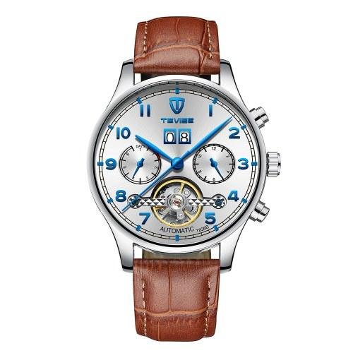 TEVISE T836B Marca de Moda Homens Relógio de Luxo Mecânico Auto-vento Relógio De Pulso Automático Relógio De Couro Esporte Relogio masculino para o Presente