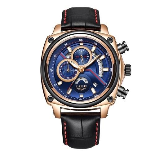 LIGE 9891 Orologio da uomo al quarzo casual moda Top Luxury Brand Sport Watch uomo militare impermeabile orologio da polso in pelle Relogio Masculino