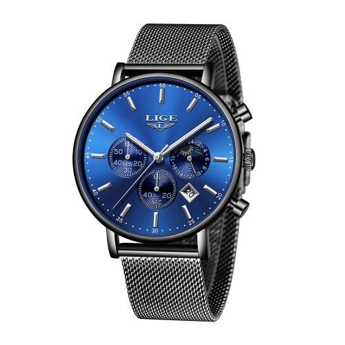 LIGE 9894 Fashion Men Watch Top Brand Luxury Quartz Watch Men Casual Slim Dress Waterproof Sport Wristwatch Relogio Masculino