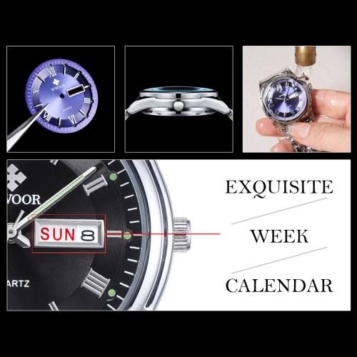 WWOOR Fashion Casual Analog Quartz Watch Business Waterproof Stainless Steel Watches Men Calendar Wristwatch фото