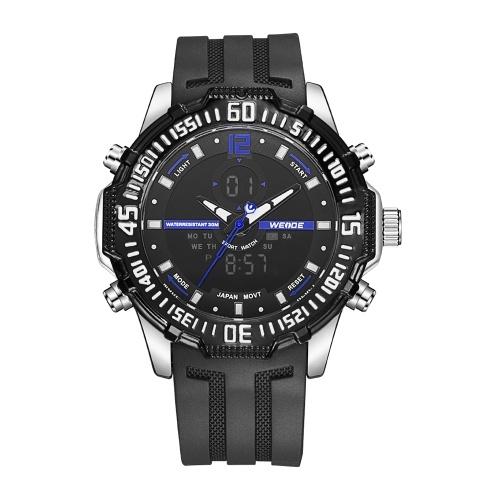 WEIDE WH6105 Кварцевые цифровые мужские часы с двумя дисплеями фото