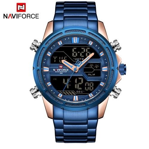 NAVIFORCE NF9138S Relógio de homem de quartzo de dois movimentos com mostrador duplo