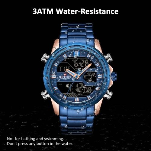 NAVIFORCE NF9138S Dual Display Two Movement Quartz Digital Men Watch