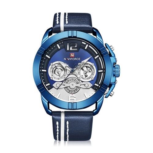 Relógio de pulso de quartzo com pulseira de couro NAVIFORCE