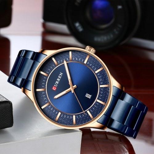Уиллис 8347 Мужские наручные часы Носимые аксессуары Кварцевые часы для мужчин Часы с датой Водонепроницаемый светящийся указатель Ремешок из нержавеющей стали ремешок