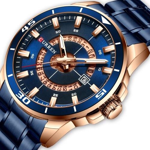 Наручные часы Уиллис 8359 для мужчин Мужские кварцевые часы с индикатором календаря Дата Водонепроницаемые светящиеся стрелки Носимые аксессуары с ремешком из нержавеющей стали