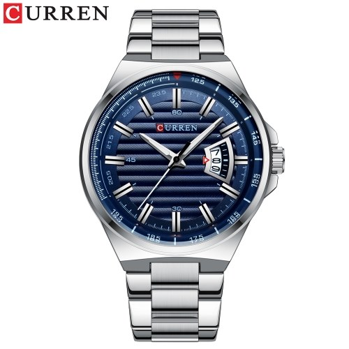 Curren Men Watch Fashion Business Calendar Luminous Hands Quartz Watch Classic Exquisite Alloy Case Stainless Steel Band Waterproof Wrist Watch