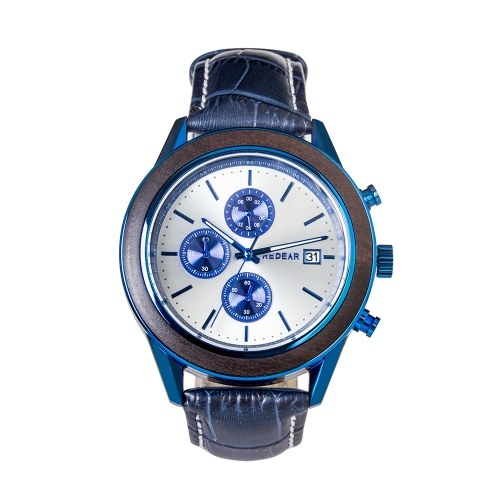 REDEAR Men Watch Quartz Movement Alloy & Wood Case Time & Calendar Display Stopwatch