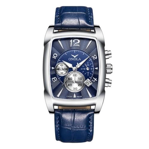 Men's Quartz Watch Leather Band Fashion Business 3ATM Wristwatch