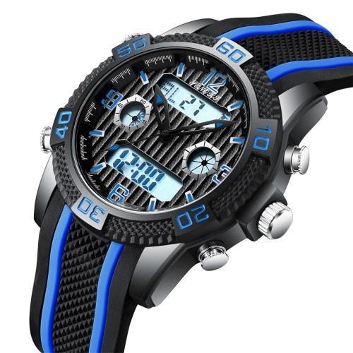 Relógio digital analógico masculino SENORS Relógio masculino esportivo ao ar livre 3ATM relógios de pulso à prova d'água com pulseira de silicone dia / data / cronômetro / alarme