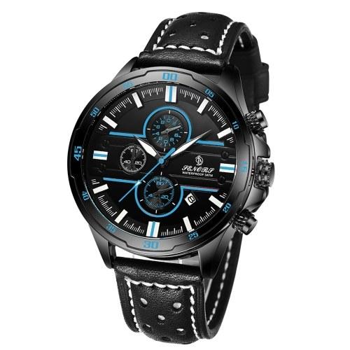 Classic Men Quartz Watch SENORS Analog Chronograph Wrist Watch with Calendar 3ATM Waterproof Multifunction Sport Watch Leather Strap