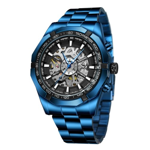 Men's Automatic Mechanical Watch with Stainless Steel Band Fashion Waterproof Sport Wristwatch