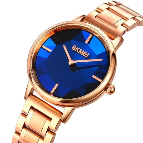 SKMEI 1789 Exquisite Stylish Elegant Women Wrist Watch with Stainless Steel Strap/3D Mirror 30M Waterproof Quartz Analog Watch Fashion Simple Ladies Wristband